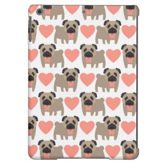 Cartoon Pugs and Hearts iPad Air Covers