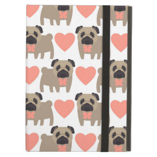 Cartoon Pugs and Hearts iPad Air Cover