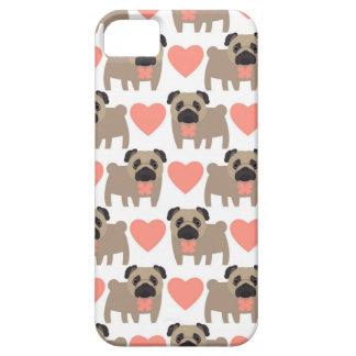 Cartoon Pugs and Hearts iPhone SE/5/5s Case