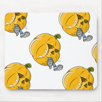Cartoon Pumpkin Eating Kid Mouse Pads