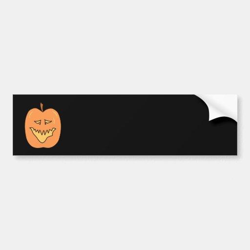 Cartoon Pumpkin. Halloween. Car Bumper Sticker