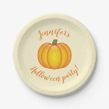 Halloween Themed Cartoon Pumpkin With Custom Halloween Party Text Paper Plate