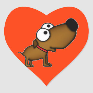Cartoon Puppy Heart Sticker