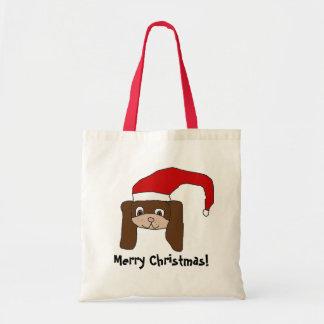 Cartoon Puppy in Santa Hat Tote Bag