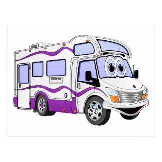 Cartoon Purple Camper Postcard