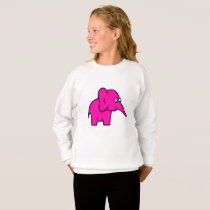 cartoon purple elephant kids long sleeve shirt