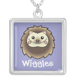 Cartoon Pygmy Hedgehog (add your pets name) Square Pendant Necklace