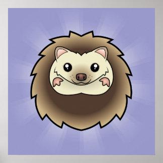 Cartoon Pygmy Hedgehog Poster