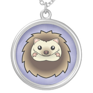 Cartoon Pygmy Hedgehog Round Pendant Necklace