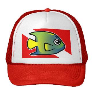 Cartoon Queen Angelfish Dive Flag Trucker Hat