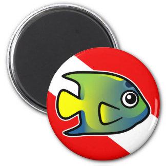 Cartoon Queen Angelfish Dive Flag Magnet