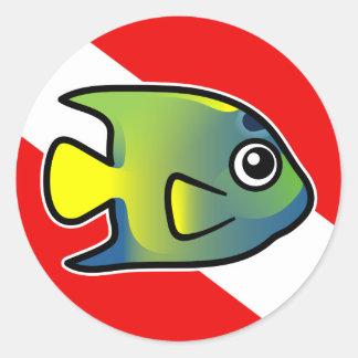 Cartoon Queen Angelfish Dive Flag Round Sticker
