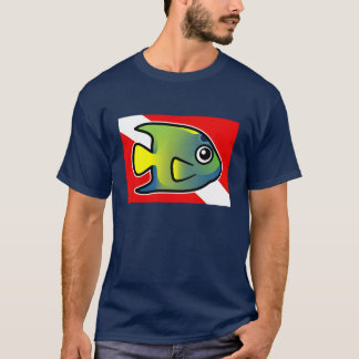 Cartoon Queen Angelfish Dive Flag T-Shirt