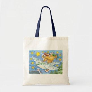 Cartoon Rabbit as Santa Claus and Owl as Sleigh Budget Tote Bag