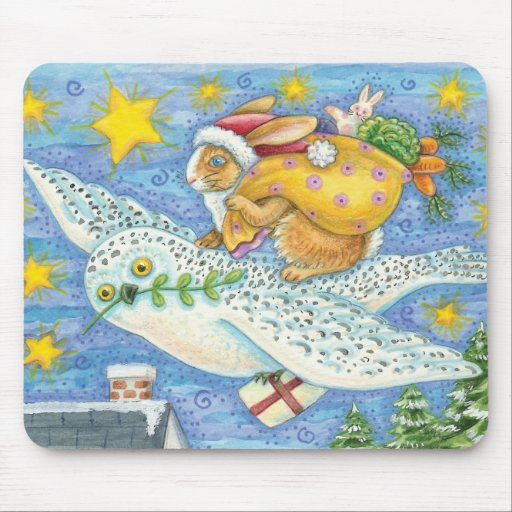 Cartoon Rabbit as Santa Claus and Owl as Sleigh Mouse Pad