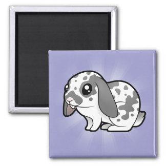 Cartoon Rabbit (floppy ear smooth hair) 2 Inch Square Magnet