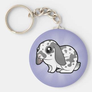 Cartoon Rabbit (floppy ear smooth hair) Basic Round Button Keychain