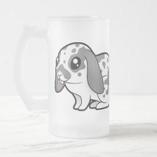 Cartoon Rabbit (floppy ear smooth hair) Frosted Glass Beer Mug