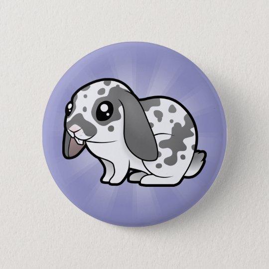 Cartoon Rabbit (floppy ear smooth hair) Pinback Button