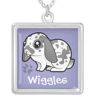 Cartoon Rabbit (floppy ear smooth hair) Silver Plated Necklace