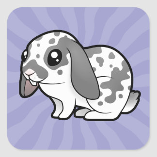 Cartoon Rabbit (floppy ear smooth hair) Square Sticker