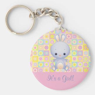 Cartoon Rabbit It's a Girl Birth Announcement Keyc Basic Round Button Keychain