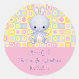 Cartoon Rabbit Its a Girl Birth Announcement Stick Classic Round Sticker