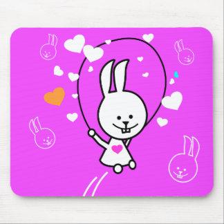 Cartoon Rabbit Jumping Rope - Pink Mouse Pad