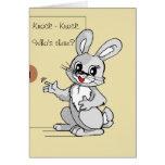 Cartoon Rabbit Knock-Knock Joke Greeting Card