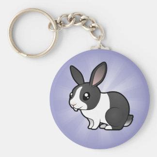 Cartoon Rabbit (uppy ear smooth hair) Basic Round Button Keychain