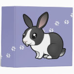 Cartoon Rabbit (uppy ear smooth hair) 3 Ring Binders