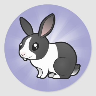 Cartoon Rabbit (uppy ear smooth hair) Classic Round Sticker