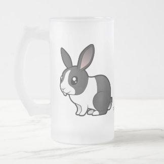 Cartoon Rabbit (uppy ear smooth hair) Frosted Glass Beer Mug