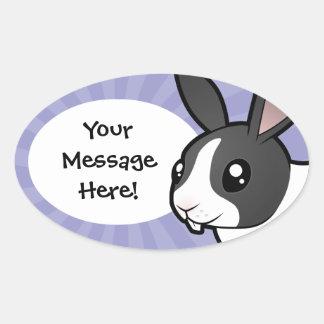 Cartoon Rabbit (uppy ear smooth hair) Oval Sticker