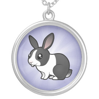 Cartoon Rabbit (uppy ear smooth hair) Silver Plated Necklace