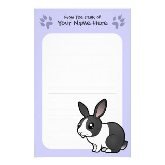 Cartoon Rabbit (uppy ear smooth hair) Personalized Stationery