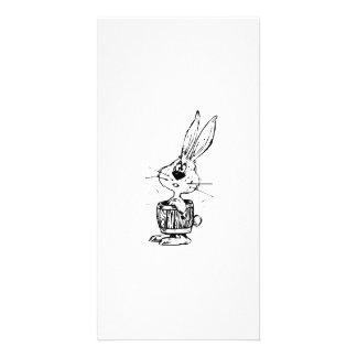 Cartoon Rabbit Wearing a Barrel Photo Card