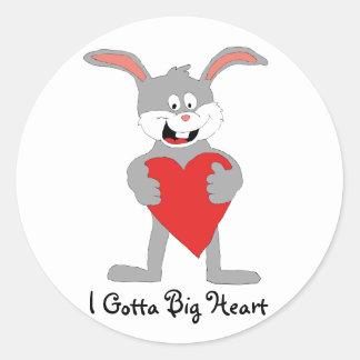 Cartoon Rabbit With Big Heart Classic Round Sticker