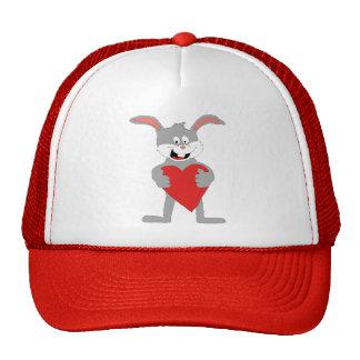 Cartoon Rabbit With Big Heart Trucker Hat