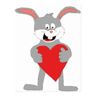Cartoon Rabbit With Big Heart Postcard