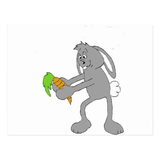 Cartoon Rabbit With Carrot Postcard