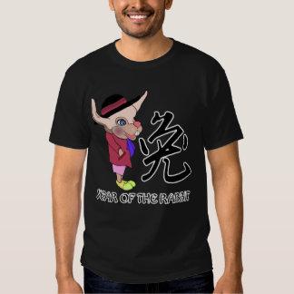 Cartoon Rabbit with Chinese Calligraphy Tee Shirt