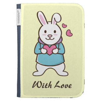 Cartoon Rabbit with heart Kindle 3 Covers