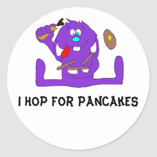 Cartoon Rabbit With Pancakes Classic Round Sticker