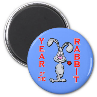 Cartoon Rabbit Yr of the Rabbit Gifts 2 Inch Round Magnet