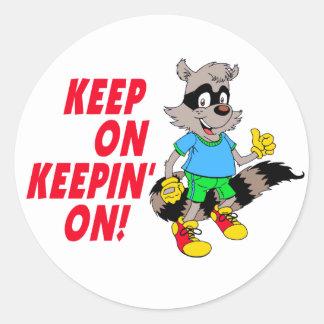 Cartoon Raccoon Classic Round Sticker