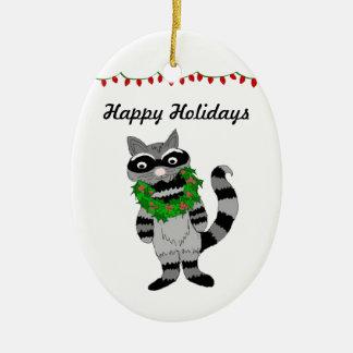Cartoon Raccoon Decked for the Holidays Ceramic Ornament