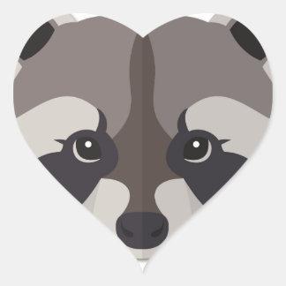 Cartoon Raccoon Head Heart Sticker