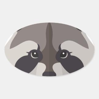 Cartoon Raccoon Head Oval Sticker