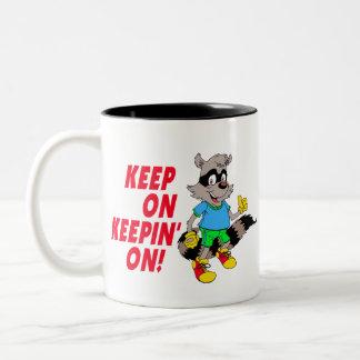 Cartoon Raccoon Two-Tone Coffee Mug